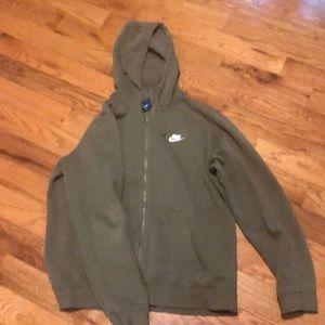 Army green Nike zip up hoodie